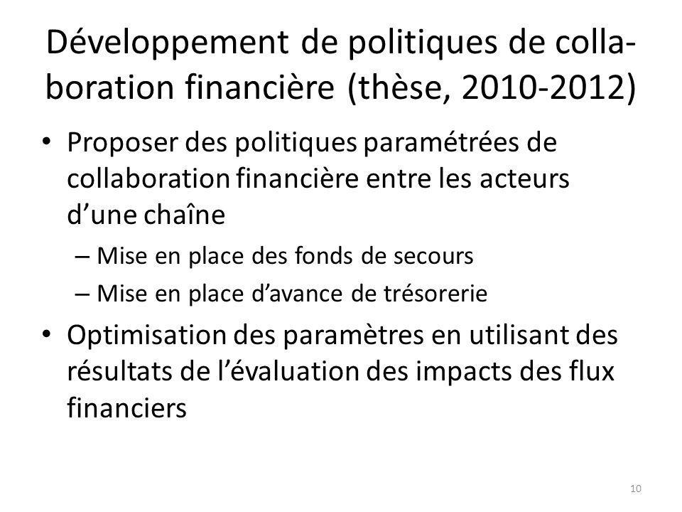 Développement de politiques de colla-boration financière (thèse, 2010-2012)