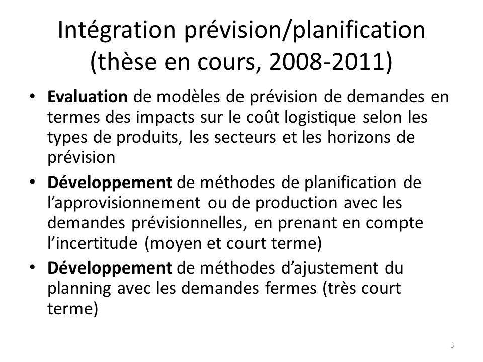 Intégration prévision/planification (thèse en cours, 2008-2011)
