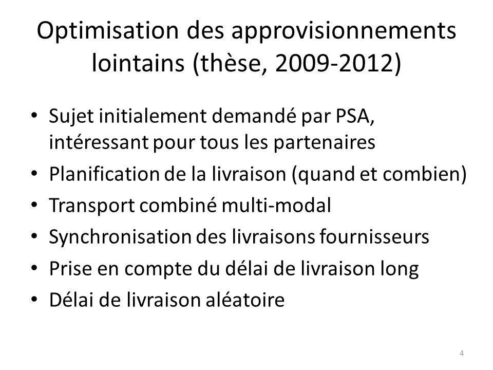 Optimisation des approvisionnements lointains (thèse, 2009-2012)