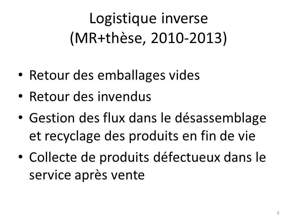 Logistique inverse (MR+thèse, 2010-2013)