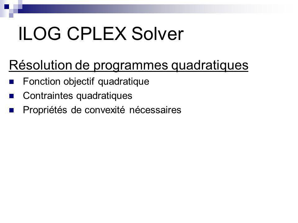 ILOG CPLEX Solver Résolution de programmes quadratiques