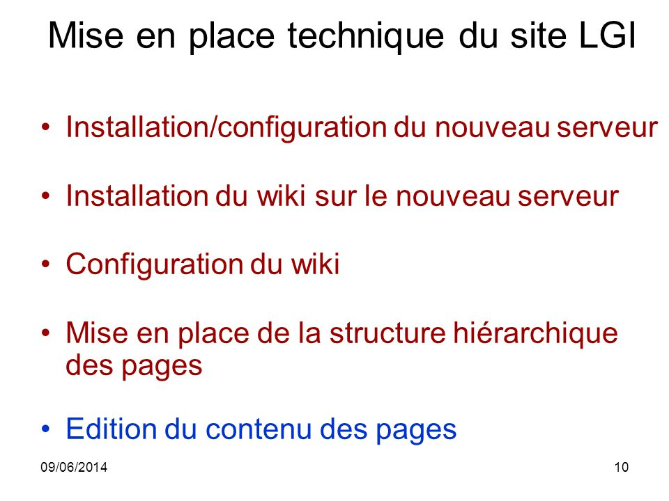 Mise en place technique du site LGI