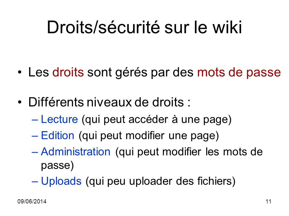 Droits/sécurité sur le wiki