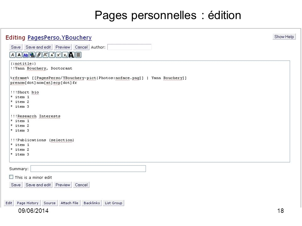 Pages personnelles : édition