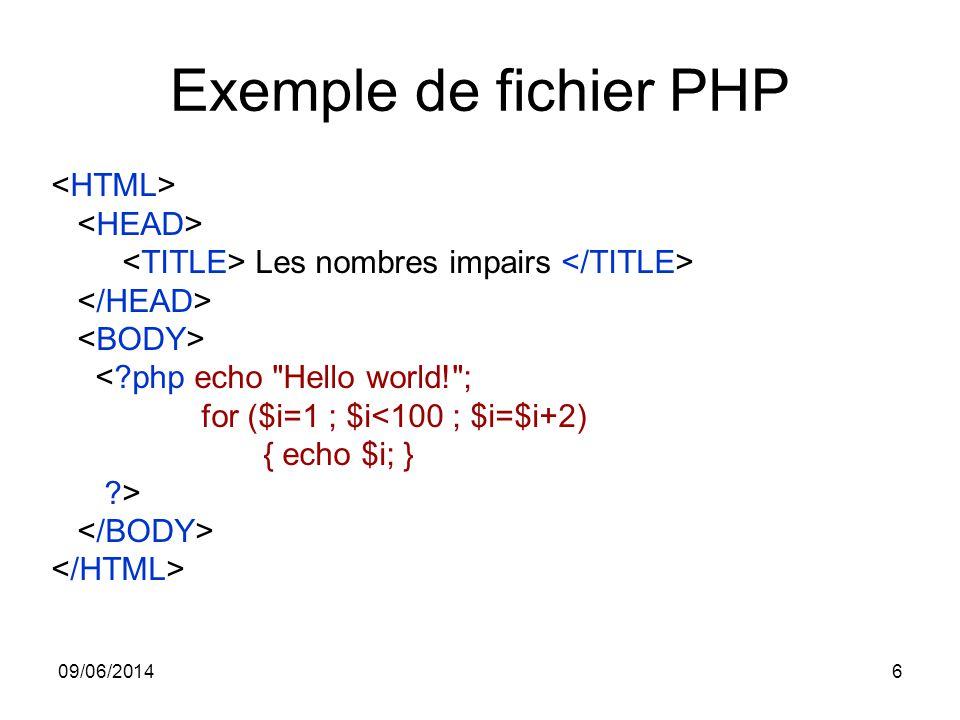 Exemple de fichier PHP <HTML> <HEAD>