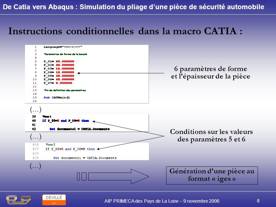 Instructions conditionnelles dans la macro CATIA :