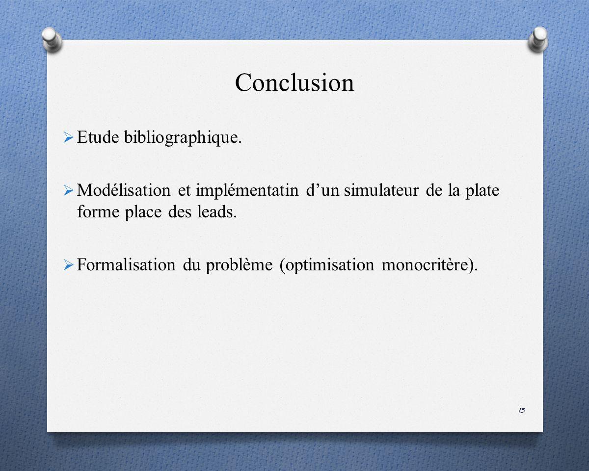 Conclusion Etude bibliographique.