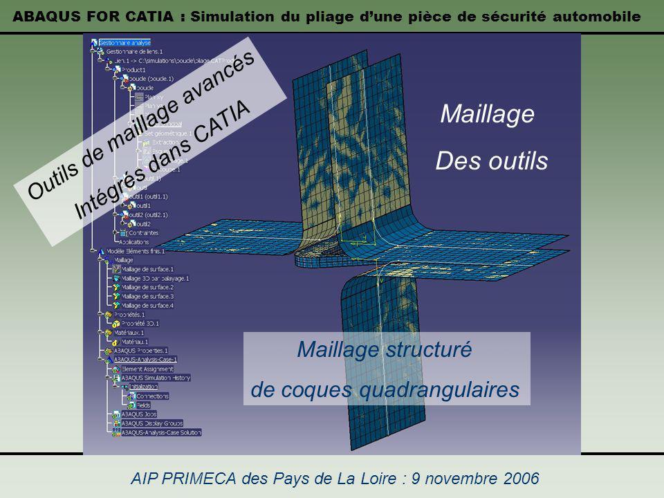 Maillage Des outils Outils de maillage avancés Intégrés dans CATIA