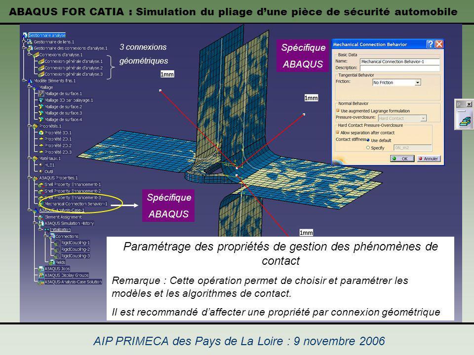 Paramétrage des propriétés de gestion des phénomènes de contact