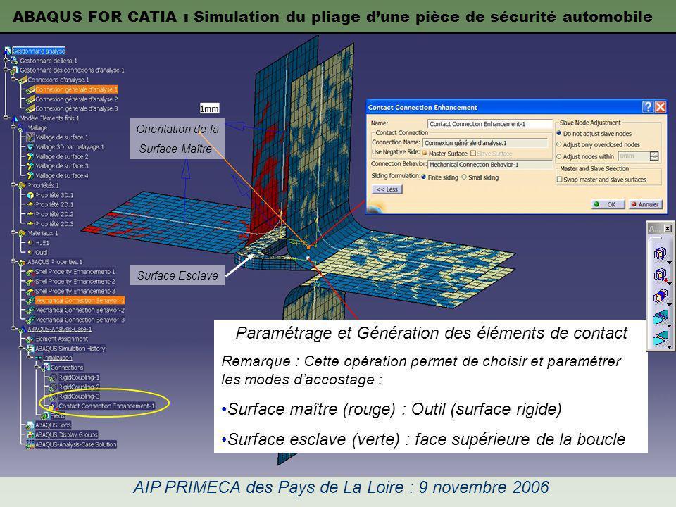 Paramétrage et Génération des éléments de contact