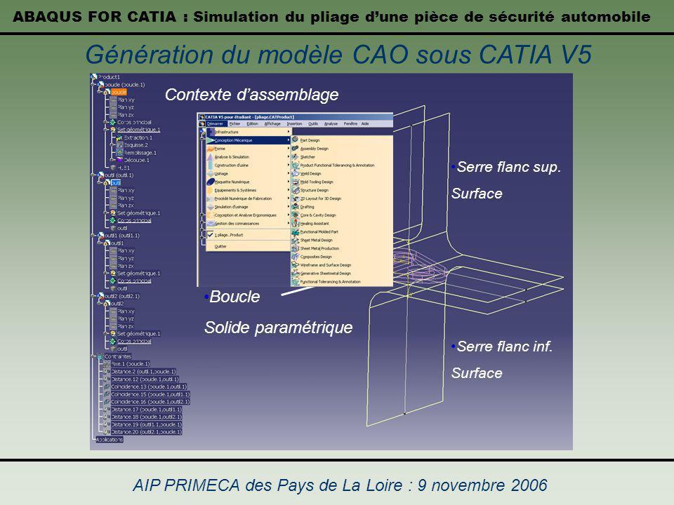 Génération du modèle CAO sous CATIA V5