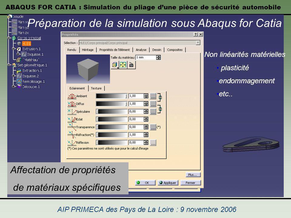 Préparation de la simulation sous Abaqus for Catia
