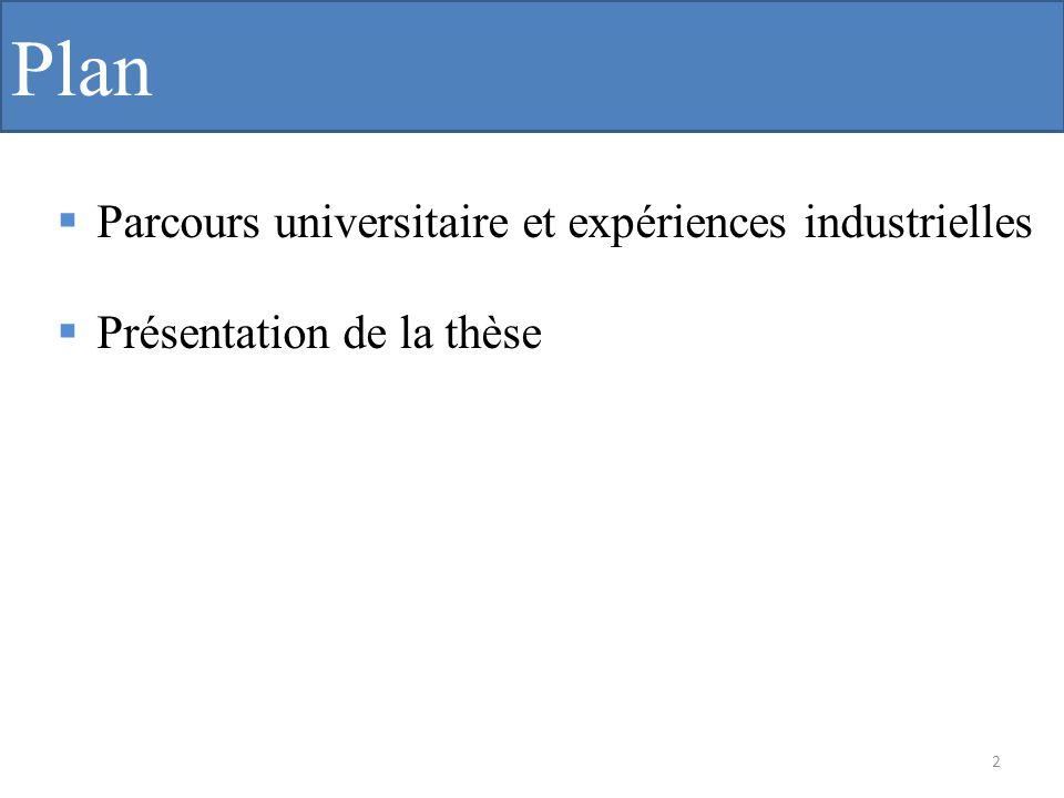 Plan Parcours universitaire et expériences industrielles
