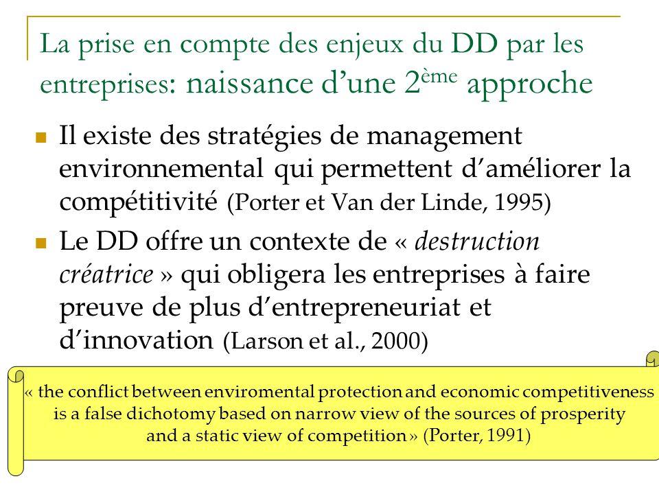 La prise en compte des enjeux du DD par les entreprises: naissance d'une 2ème approche