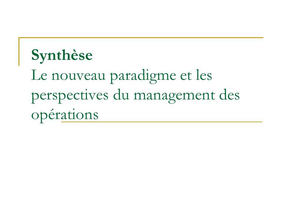 Synthèse Le nouveau paradigme et les perspectives du management des opérations