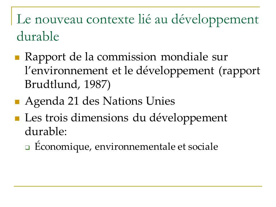 Le nouveau contexte lié au développement durable