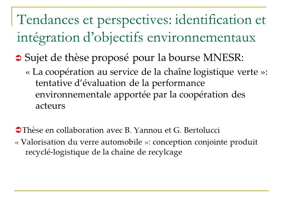 Tendances et perspectives: identification et intégration d'objectifs environnementaux