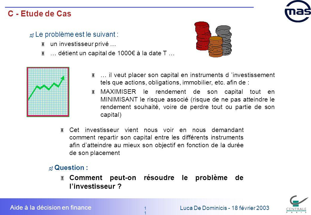 C - Etude de Cas Le problème est le suivant : un investisseur privé … … détient un capital de 1000€ à la date T …