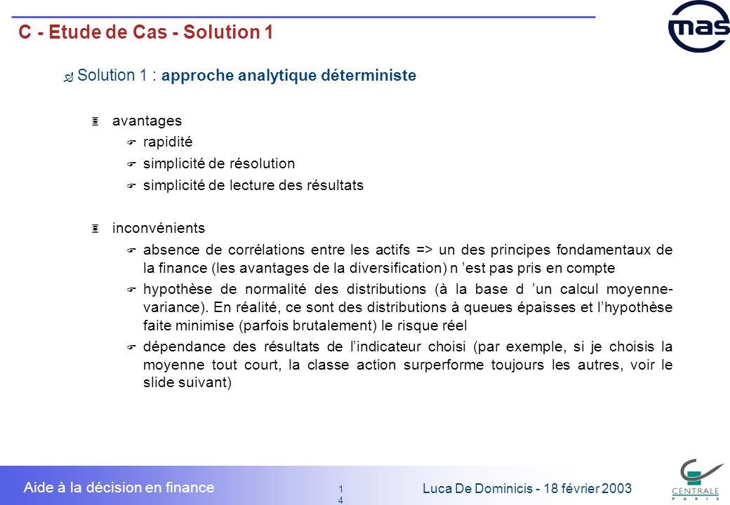 C - Etude de Cas - Solution 1