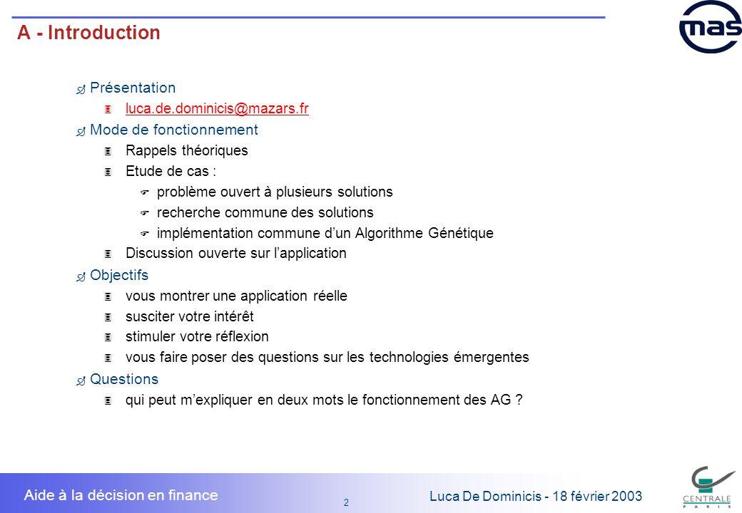 A - Introduction Présentation Mode de fonctionnement Objectifs