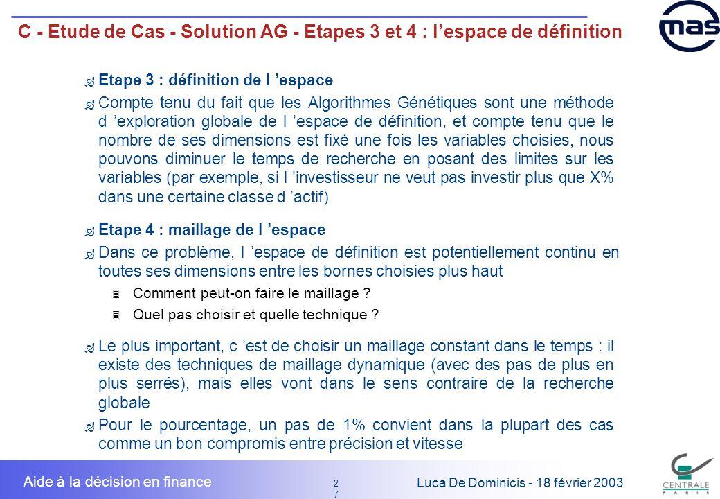 C - Etude de Cas - Solution AG - Etapes 3 et 4 : l'espace de définition