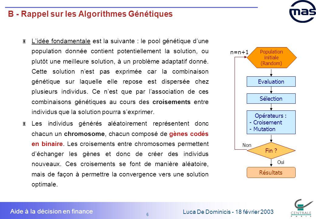 B - Rappel sur les Algorithmes Génétiques