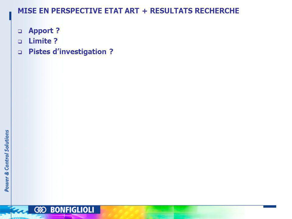 MISE EN PERSPECTIVE ETAT ART + RESULTATS RECHERCHE
