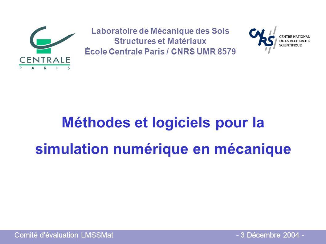 Méthodes et logiciels pour la simulation numérique en mécanique