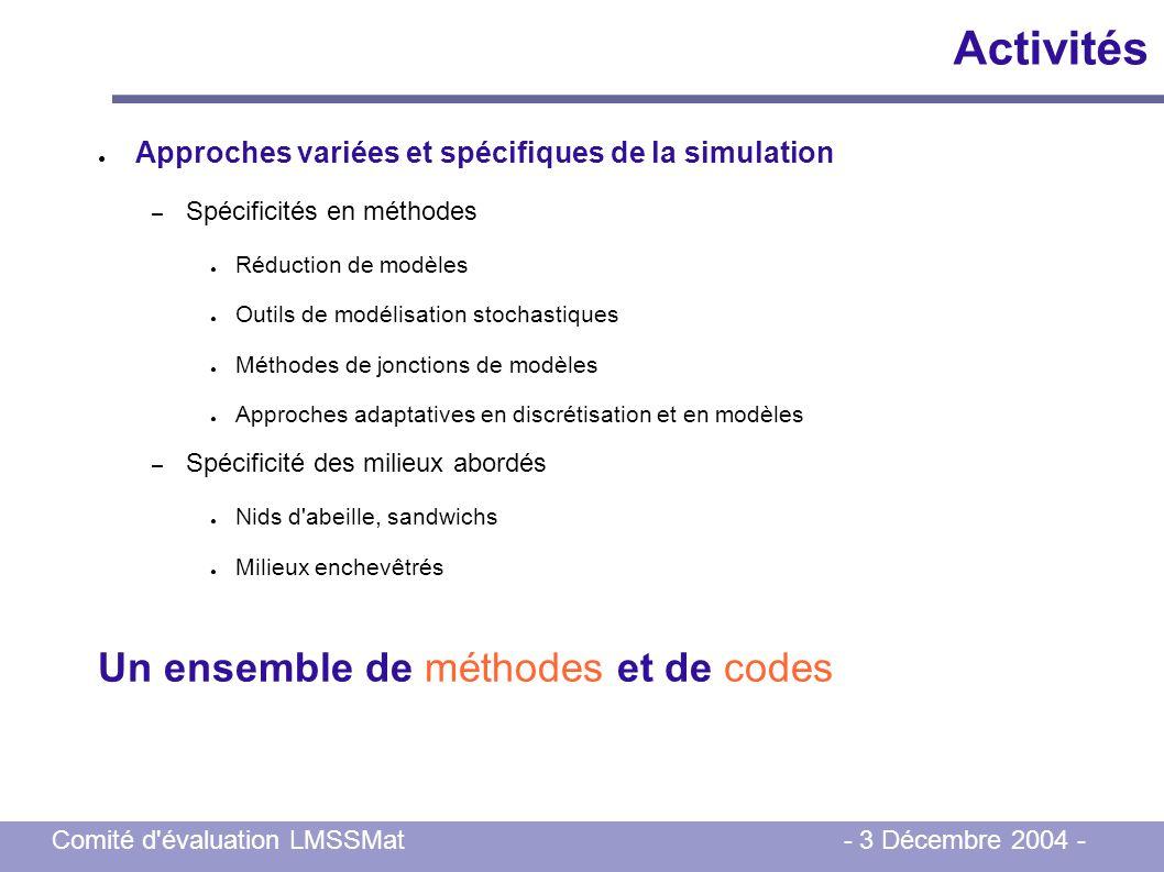 Activités Un ensemble de méthodes et de codes