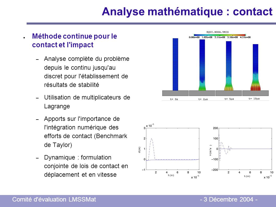 Analyse mathématique : contact