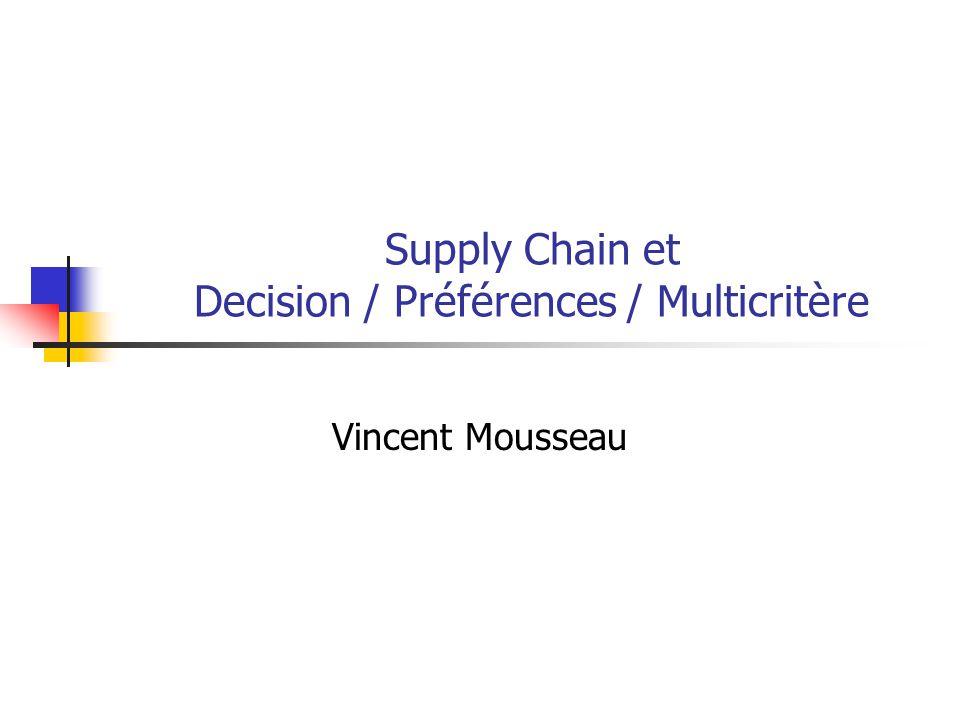 Supply Chain et Decision / Préférences / Multicritère