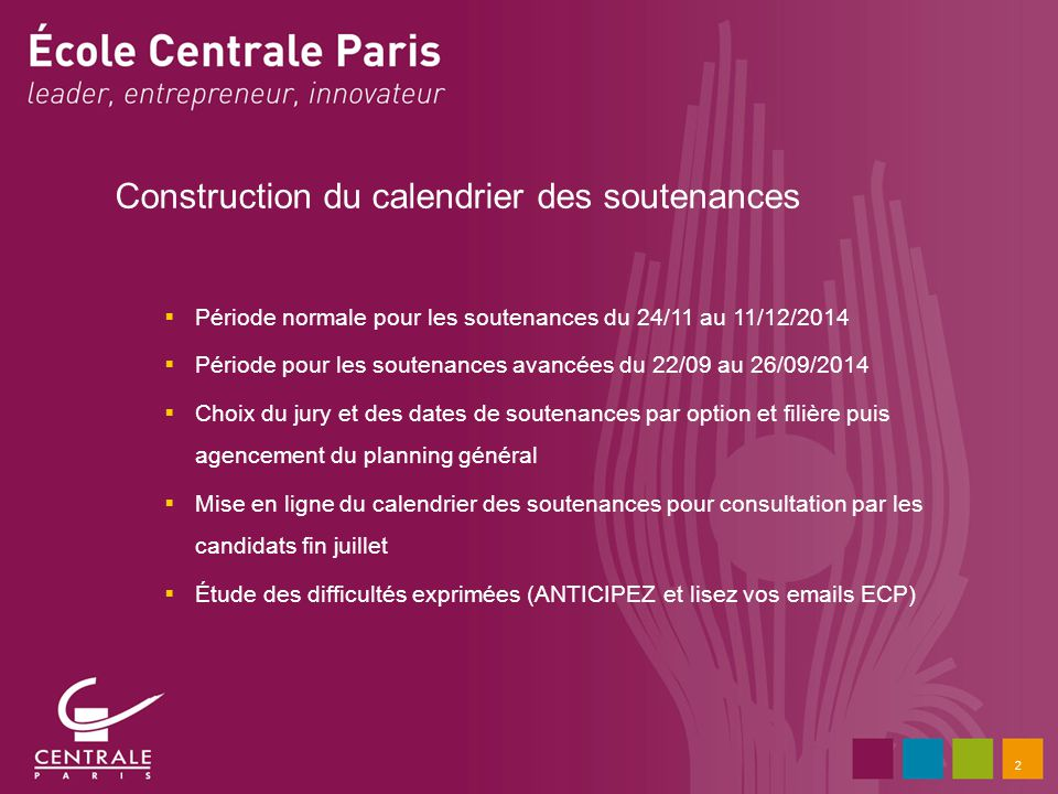 Construction du calendrier des soutenances