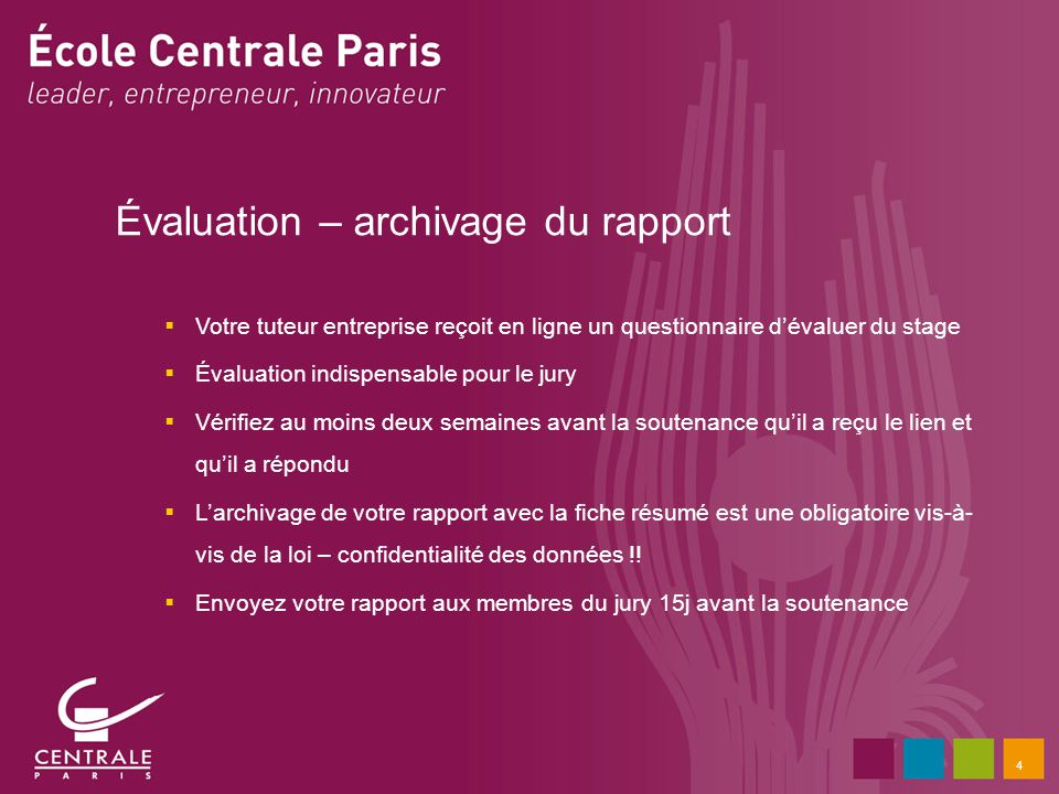 Évaluation – archivage du rapport