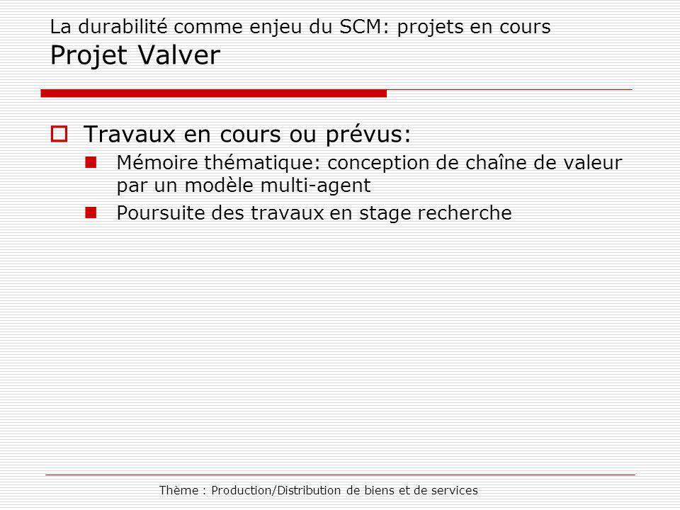 La durabilité comme enjeu du SCM: projets en cours Projet Valver