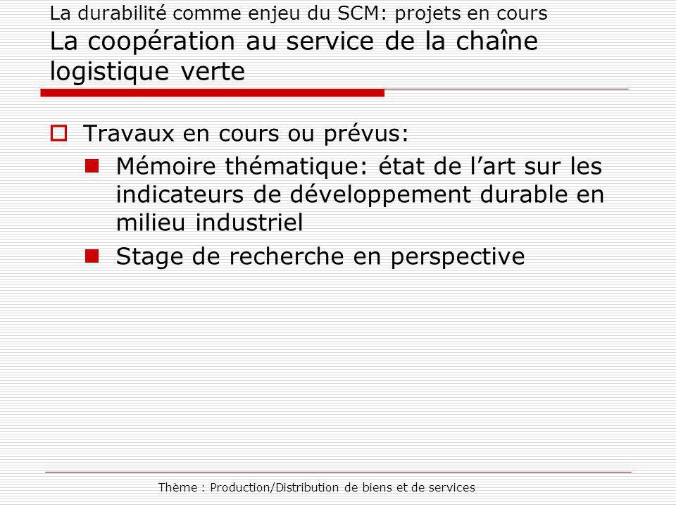 Thème : Production/Distribution de biens et de services