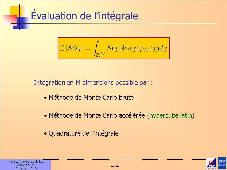Évaluation de l'intégrale