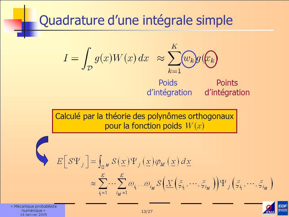 Quadrature d'une intégrale simple