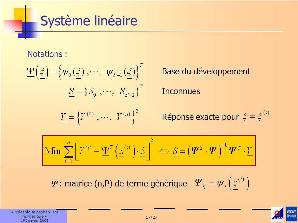 Système linéaire Notations : Base du développement Inconnues