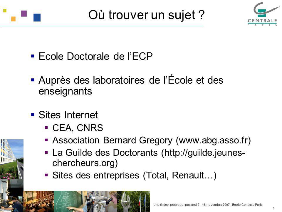 Où trouver un sujet Ecole Doctorale de l'ECP