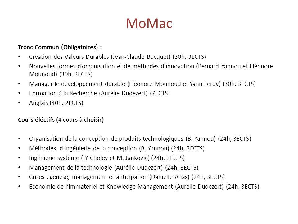 MoMac Tronc Commun (Obligatoires) :