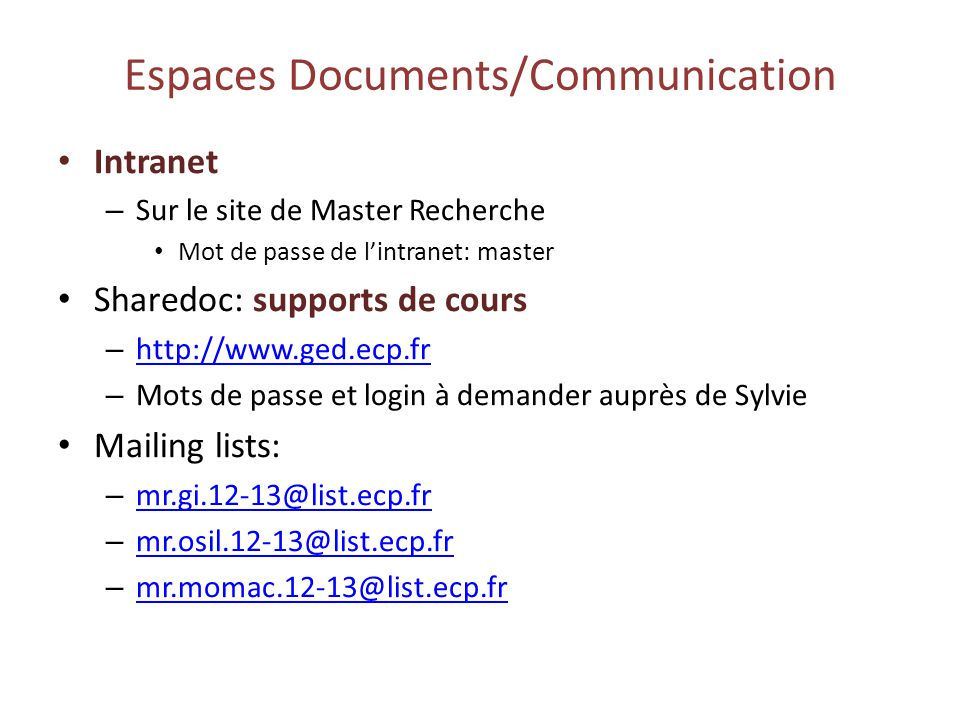 Espaces Documents/Communication