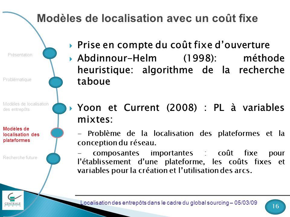 Modèles de localisation avec un coût fixe