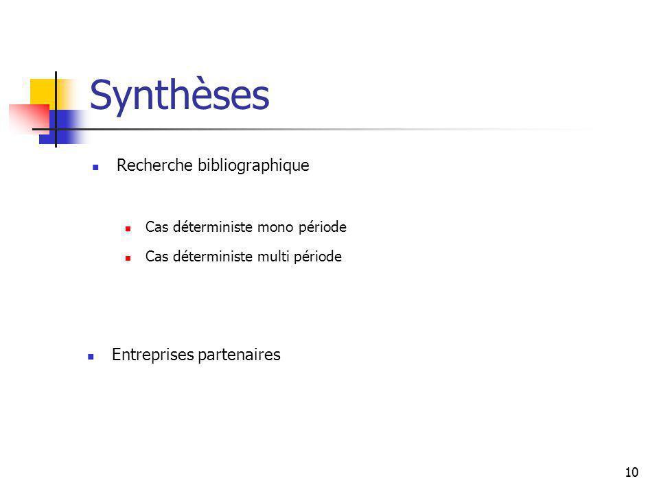 Synthèses Recherche bibliographique Entreprises partenaires