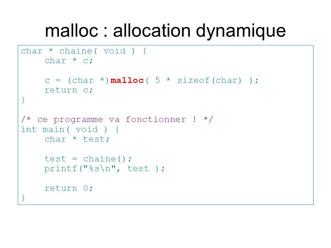 malloc : allocation dynamique