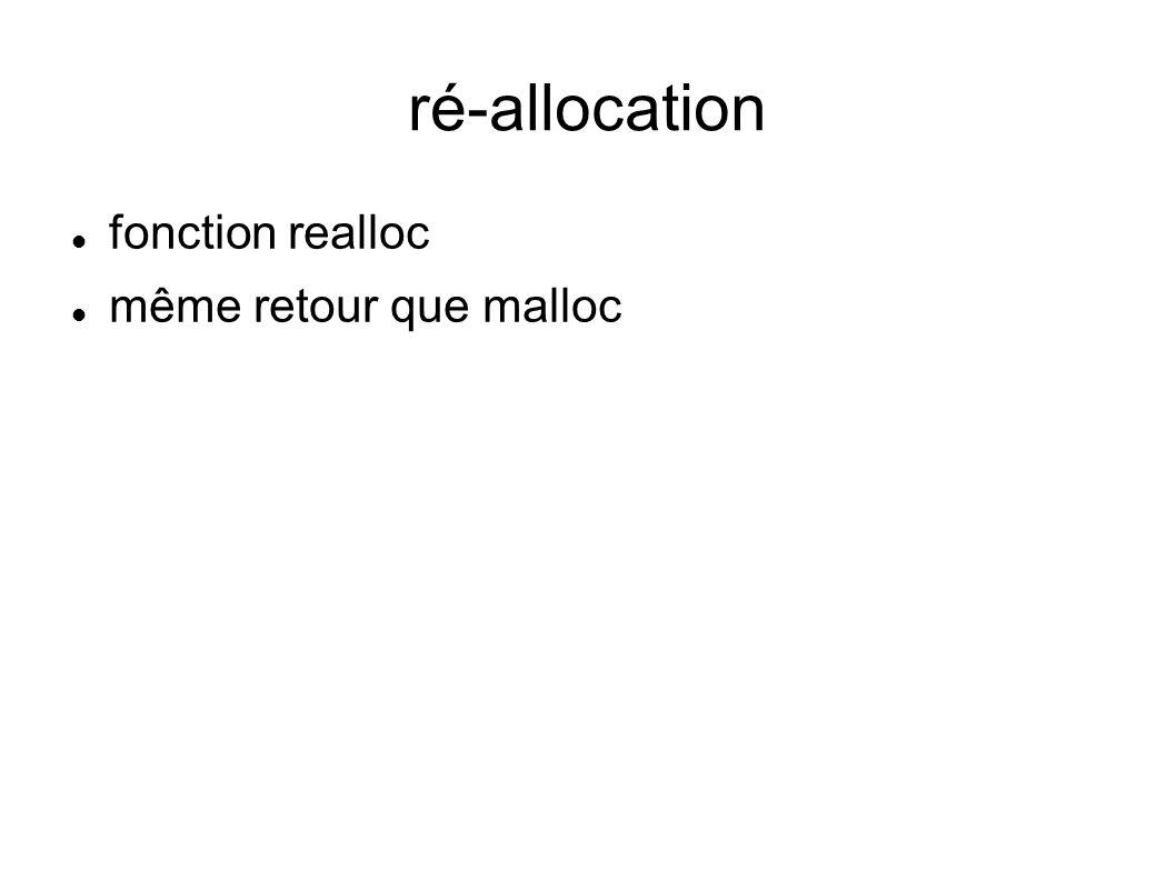 ré-allocation fonction realloc même retour que malloc