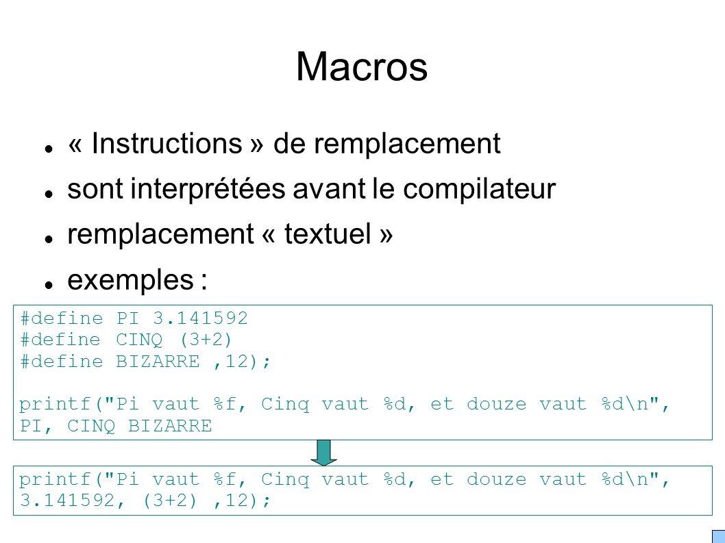 Macros « Instructions » de remplacement