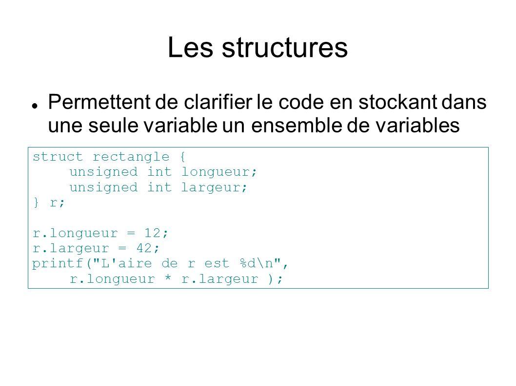 Les structures Permettent de clarifier le code en stockant dans une seule variable un ensemble de variables.