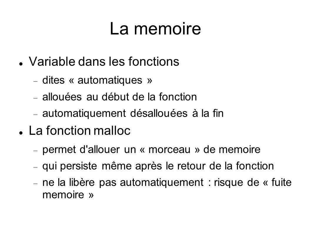 La memoire Variable dans les fonctions La fonction malloc