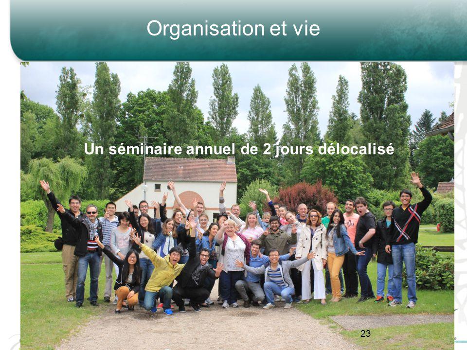 Organisation et vie Un séminaire annuel de 2 jours délocalisé