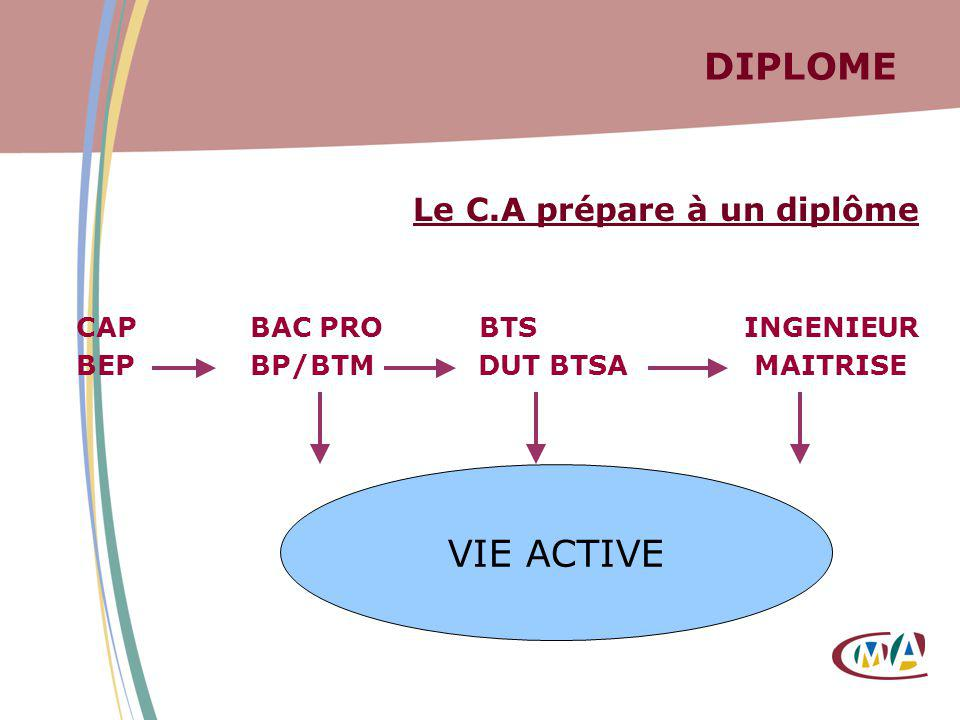 DIPLOME VIE ACTIVE Le C.A prépare à un diplôme